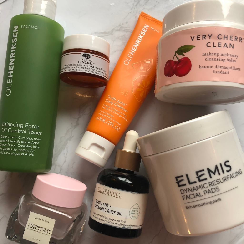 skincare, beauty, elemis, biossance, glow recipe, olehenriksen, farmacy, origins, eye cream, cleanser, toner, makeup remover, serum, face mask