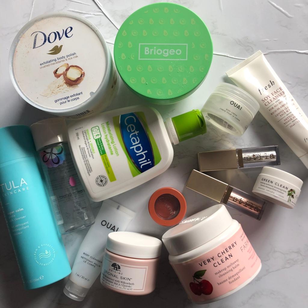 skincare, makeup, beauty, empties, beauty empties, skincare empties, makeup empties, tula, dove, briogeo, cetaphil, beauty blender, ouai, fresh, farmacy, stila, colourpop, origins