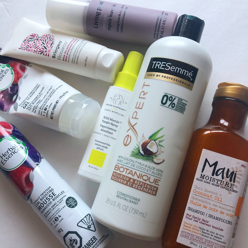 hair products, curly hair products, curly girl approved products, curly girl method, curly hair products, affordable curly hair products, affordable curly hair products canada, Living Proof, Tresemme, Maui Moisture, Drunk Elephant, Briogeo, Herbal Essenses