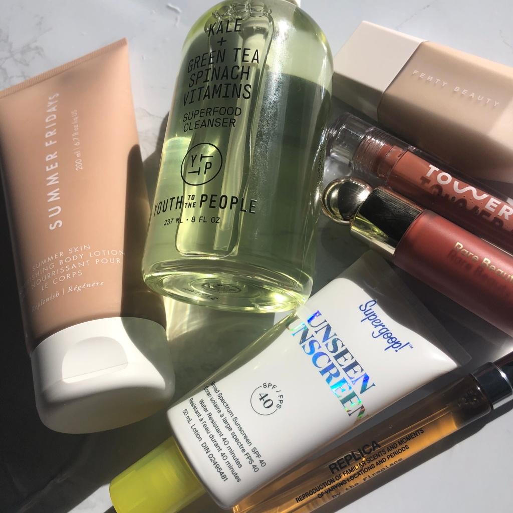 A Sephora haul including Summer Friday body lotion, Youth to the People cleanser, Fenty Beauty foundation, Tower28 lip gloss, Rare Beauty blush, Supergoop sunscreen and Replica perfume.