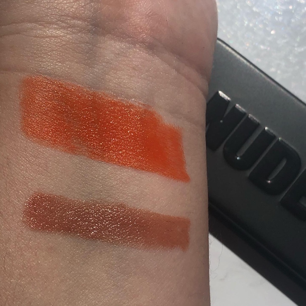Swatches of Nudestix Picante (top) and Send Noodz (bottom).