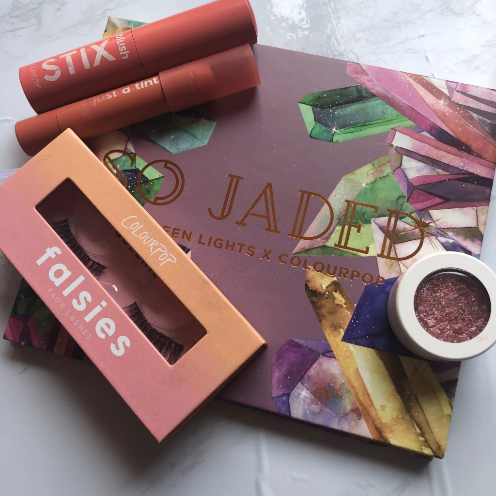 Colourpop eyeshadows, false lashes, blush and lip tint