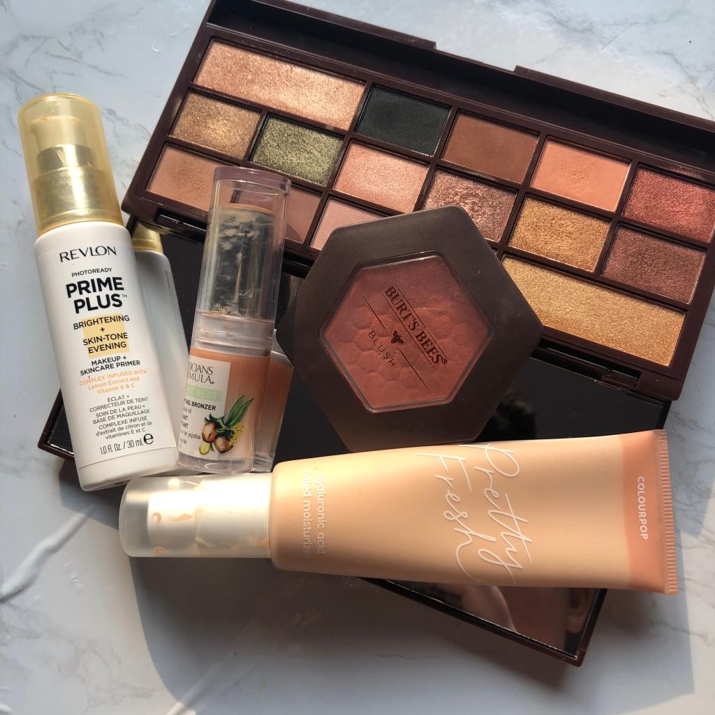 Best affordable drugstore makeup featuring Revlon, Makeup Revolution, Colourpop, Burt's Bees and Physicians Formula.